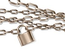 The realistic brown metal chain and padlock, handcuffed card Stock Image