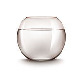Realistic Brown Transparent Shiny Glass Fishbowl Aquarium with Water without Fish Isolated on White Background. Vector Realistic Brown Transparent Shiny Glass Royalty Free Stock Photo