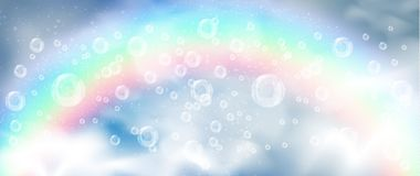 Realistic bubbles and white smoke on the background of a rainbow vector illustration