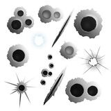 Realistic Bullet Holes Set. Bullet shot holes realistic set of isolated images with various puncture and shell holes on blank background vector illustration Royalty Free Stock Image