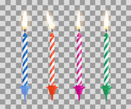 Realistic burning birthday cake candles set isolated on transparent checkered background. Vector illustration. Realistic burning birthday cake candles set Stock Photography