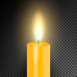 Realistic Burning Dinner Candle. Transparency Grid. Special Effect. Vector illustration Stock Photo