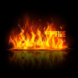 Realistic Burning Fire Flame. Illustration of Realistic Burning Fire Flame on black background Stock Image