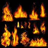 Realistic Burning Fire Flame. Illustration of Realistic Burning Fire Flame on black background Royalty Free Stock Image