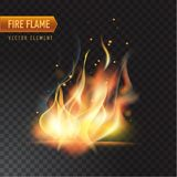 Realistic burning fire flame, vector effect with transparency. Realistic burning fire flame, with transparency. Vector illustration Royalty Free Stock Photography