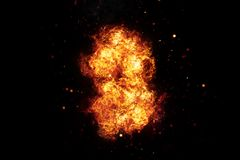 Realistic Burning Fire Flames on Black. Realistic burning fire flames frame with sparks and smoke, explosion effect on black background Stock Photography