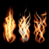 Realistic Burning Fire Flames Set. Vector Illustration Stock Images