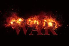 Burning Fire Flames Frame with War Text on Black. Realistic burning fire flames with sparks, smoke and war text, explosion effect on black background Royalty Free Stock Photos