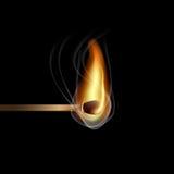 Realistic burning match. On black background Stock Images