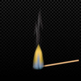 Realistic burning match on a gradient background. flames. The tree structure. Graphical element for documents, templates Stock Photography