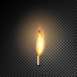Realistic Burning Match Vector. Burning Match On Transparency Grid Background royalty free illustration