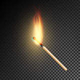 Realistic Burning Match Vector. Burning Match On Transparency Grid Background vector illustration
