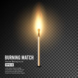 Realistic Burning Match Vector. Matchstick Flame. Transparency Grid. Special Effect. Ready To Apply. Graphic Element For Documents. Realistic Burning Match Royalty Free Stock Photography