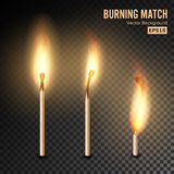 Realistic Burning Match Vector. Matchstick Flame. Transparency Grid. Special Effect. Ready To Apply. Graphic Element For Documents. Realistic Burning Match stock illustration