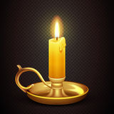 Realistic burning romantic candle isolated on transparent plaid background vector illustration. Antique brass candelabra with wax candle Stock Photos