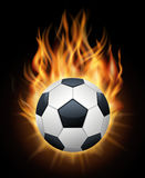 Realistic burning soccer ball  black vector. Sport football ball illustration Stock Image