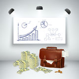 Realistic Business Financial Template. With leather briefcase money cash blackboard sketch diagram and spotlights isolated vector illustration Royalty Free Stock Image