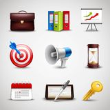 Realistic Business Icons Stock Photography