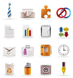 Realistic Business and Office Icons Stock Image