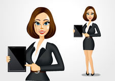 Realistic businesswoman with tablet Royalty Free Stock Images