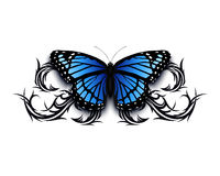 Realistic butterfly icon on top of abstract tribal. stock illustration