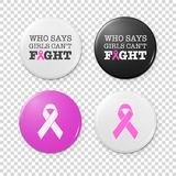 Realistic button badges with cancer theme inscription and pink ribbon - symbol of breast cancer awareness. Icon set royalty free illustration