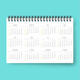 Realistic calendar . Calendar template in English 2016. Ready calendars. Realistic calendar. Calendar template in English in 2016 . Ready calendar. Mock up Stock Photos