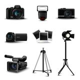 Realistic Camera Icons. And photo equipment set isolated vector illustration Stock Image
