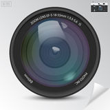 Realistic camera photo lens with shadows Stock Photo