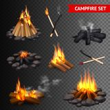 Realistic Campfire Transparent Set. Of isolated bonfire images with lump wood stones and firebrands with smoke vector illustration stock illustration