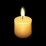 Realistic Candle Vector with Black Background Royalty Free Stock Photography