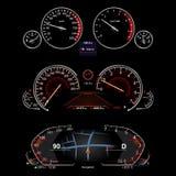 Realistic car dashboard. Set screen vector illustration