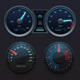 Realistic car dashboard speedometers with dial meter. Rapid symbols vector set. Illustration of dashboard with speedometer panel Stock Image