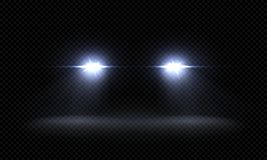 Realistic car headlights. Train front light beams, transparent bright glowing light rays, night road light effects. Vector 3d led lights royalty free illustration