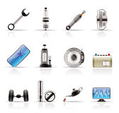 Realistic Car Parts and Services icons. Vector Icon Set 1 Royalty Free Stock Photo