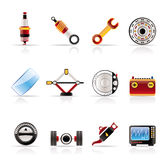 Realistic Car Parts and Services icons. Vector Icon Set 1 Stock Photos