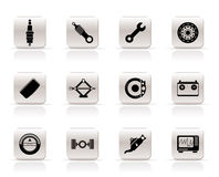 Realistic Car Parts and Services icons Stock Images