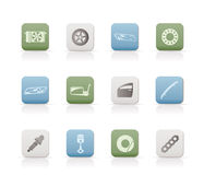 Realistic Car Parts and Services icons. Vector Icon Set 1 Stock Image