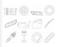 Realistic Car Parts and Services icons. Vector Icon Set 1 Royalty Free Stock Photography