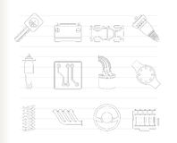 Realistic Car Parts and Services icons Stock Photos
