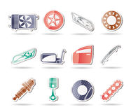 Realistic Car Parts and Services icons. Vector Icon Set 1 Stock Photo