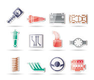 Realistic Car Parts and Services icons. Vector Icon Set 2 Royalty Free Stock Photo