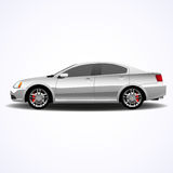Realistic car, silver sedan. Vector illustration Stock Images