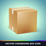 Realistic Cardboard Box Icon Stock Images