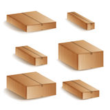 Realistic Cardboard Boxes Set Isolated Vector Illustration. Closed Delivery Cardboard 3d Realistic Decorative Box Icons Set Isolat. Realistic Cardboard Boxes Set Stock Images
