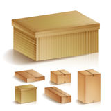 Realistic Cardboard Boxes Set Isolated Vector Illustration. Retail, Logistics, Delivery, Storage Concept. royalty free illustration