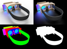 Realistic cardboard glasses virtual reality headsets. Stock Photography