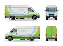 Realistic Cargo Van Advertising Design Mockup. Realistic cargo van advertising template design mockup side view, front and rear on white background vector stock illustration