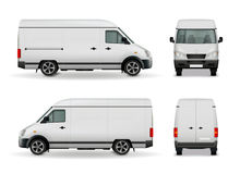 Realistic Cargo Van Advertising Mockup. Realistic white cargo van with empty surface advertising mockup side view, front and rear vector illustration vector illustration