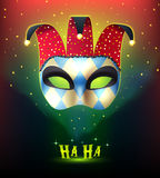 Realistic Carnival Mask Background. Masquerade background with realistic joker mask splendid on colorful stellar background with cartoon style mysterious lights Royalty Free Stock Photo